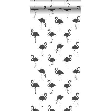 carta da parati fenicotteri nero e bianco