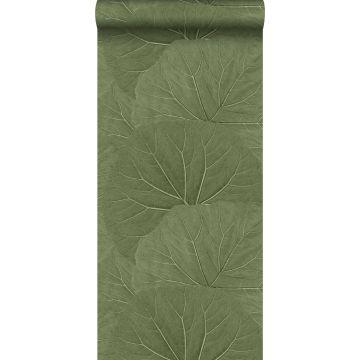 carta da parati foglie grandi verde oliva grigiastro