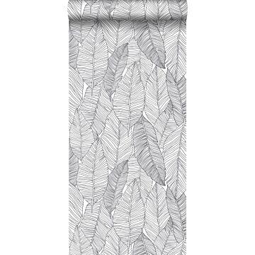 carta da parati foglie disegnate nero e bianco