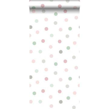 carta da parati puntini rosa, verde e grigio