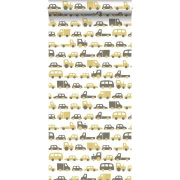carta da parati macchine giallo ocra e marrone