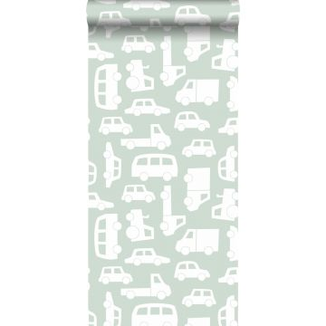 carta da parati macchine verde menta