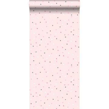 carta da parati puntini rosa e grigio caldo