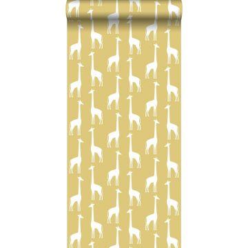carta da parati giraffe giallo ocra