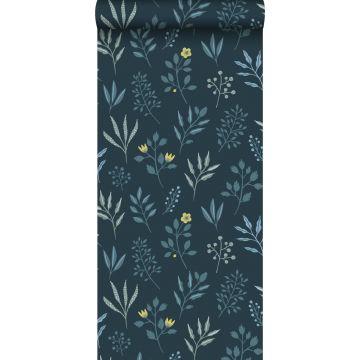 carta da parati motivo floreale in stile scandinavo blu scuro e giallo ocra