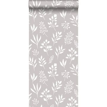 carta da parati motivo floreale in stile scandinavo grigio caldo e bianco
