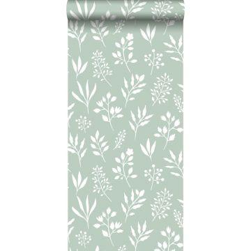 carta da parati motivo floreale in stile scandinavo verde menta e bianco