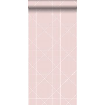 carta da parati linee grafiche rosa veccho