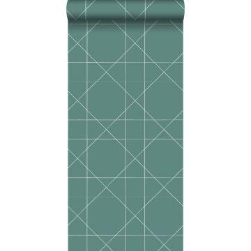 carta da parati linee grafiche verde mare grigiastro