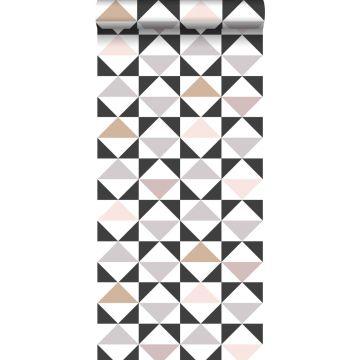 carta da parati astratto modello triangolo bianco, nero, grigio caldo e rosa veccho