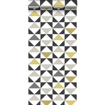 carta da parati astratto modello triangolo bianco, nero, grigio e giallo ocra