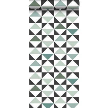 carta da parati astratto modello triangolo bianco, nero, verde menta, verde mare grigiastro