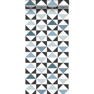 carta da parati astratto modello triangolo bianco, nero, blu vintage e blu chiaro