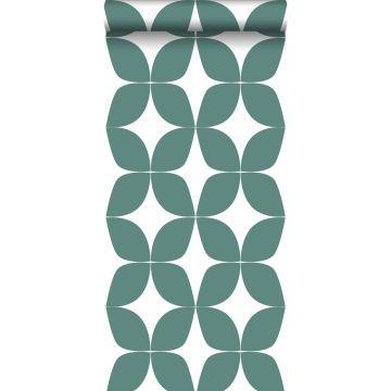 carta da parati motivo grafico verde mare grigiastro e bianco