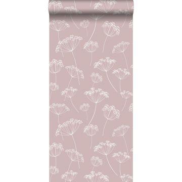 carta da parati ombrellifere rosa veccho e bianco