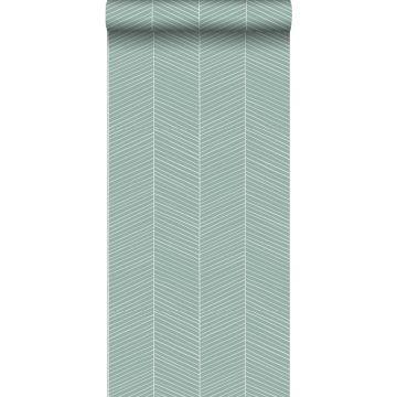 carta da parati spina di pesce verde menta grigiastro