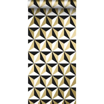 carta da parati motivo grafico oro lucido chiaro, bianco e nero