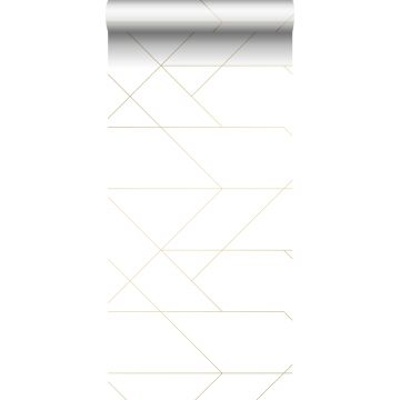 carta da parati linee grafiche bianco e oro