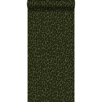 carta da parati pelle di leopardo verde scuro