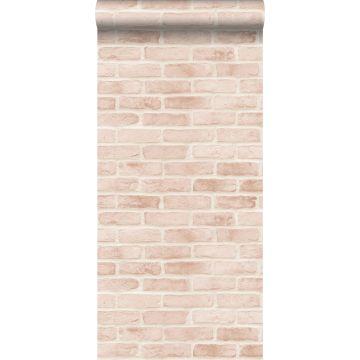 carta da parati muro di mattoni rosa pesca chiaro