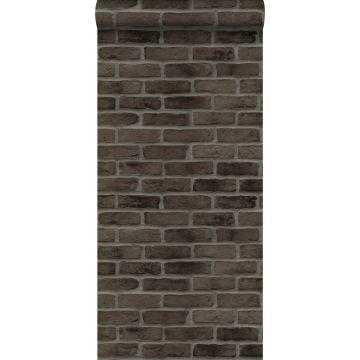 carta da parati muro di mattoni marrone scuro
