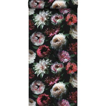 carta da parati fiori rosa, nero e verde scuro