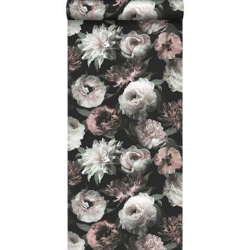 carta da parati fiori nero, bianco e rosa tenue