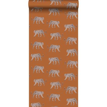 carta da parati pantera arancia caldo