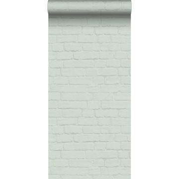 carta da parati muro di mattoni verde menta