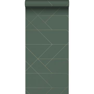 carta da parati linee grafiche verde scuro e oro