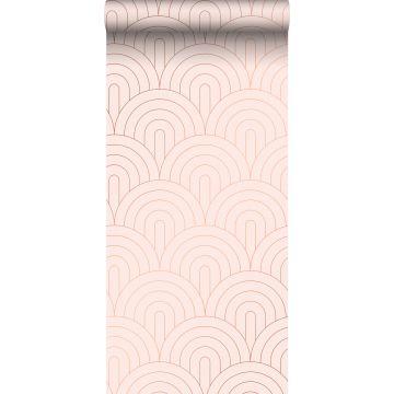 carta da parati art deco rosa tenue e oro rosa