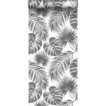 carta da parati foglie tropicali bianco e nero