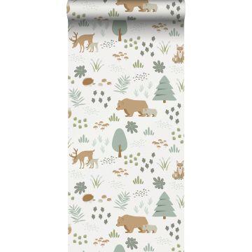 carta da parati foresta con animali della foresta bianco, verde e beige