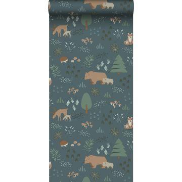 carta da parati foresta con animali della foresta blu grigrio, verde e beige