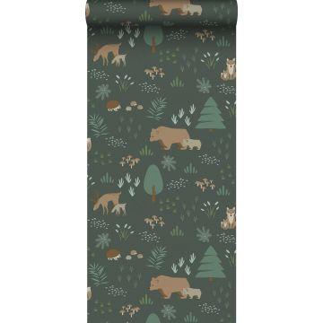 carta da parati foresta con animali della foresta verde scuro e beige