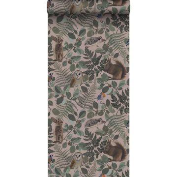 carta da parati animali della foresta rosa veccho, verde e marrone