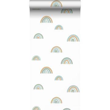 carta da parati arcobaleni blu grigrio, blu chiaro e beige