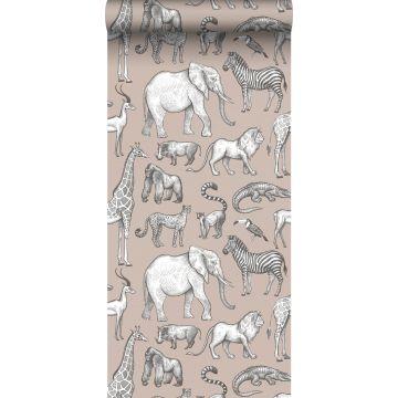 carta da parati animali della giungla rosa veccho e grigio