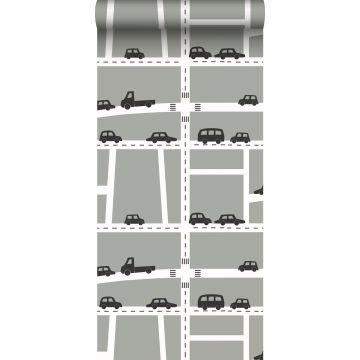 carta da parati macchine grigio, nero e bianco