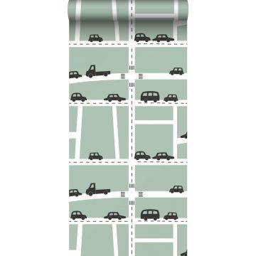 carta da parati macchine verde menta, nero e bianco