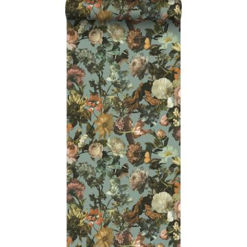 carta da parati fiori blu grigrio