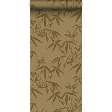 carta da parati foglie di bambù giallo ocra
