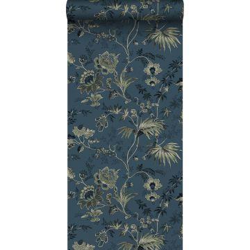 carta da parati fiori retrò vintage blu scuro e verde oliva grigiastro