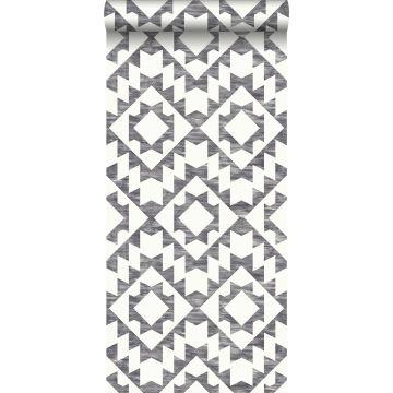 carta da parati tappeto aztec ibiza Marrakech nero e bianco opaco