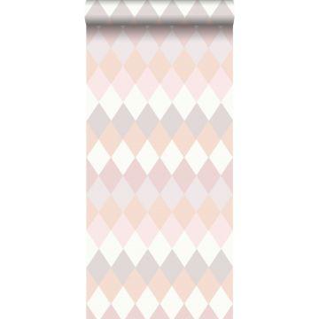 carta da parati rombo diamante a strisce orizzontali multi colore con effetto struttura lino rosa pesca e sfumature di rosa lilla