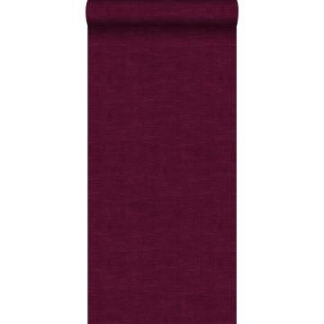 carta da parati liscia con effetto struttura di lino tessuto rosso bordeaux