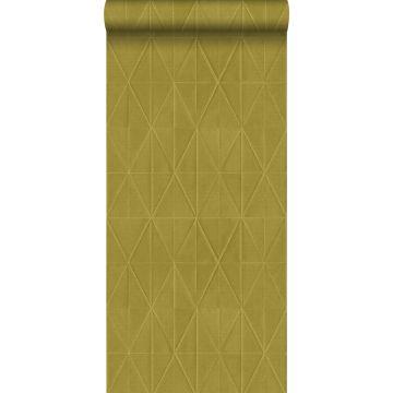 carta da parati tessuto non tessuto struttura eco motivo origami giallo ocra