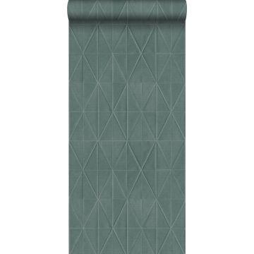 carta da parati tessuto non tessuto struttura eco motivo origami blu petrolio