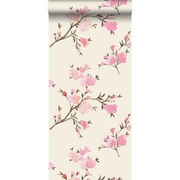 carta da parati tessuto non tessuto struttura eco fiori di ciliegio rosa