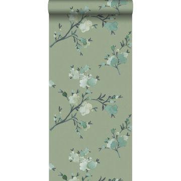 carta da parati tessuto non tessuto struttura eco fiori di ciliegio verde